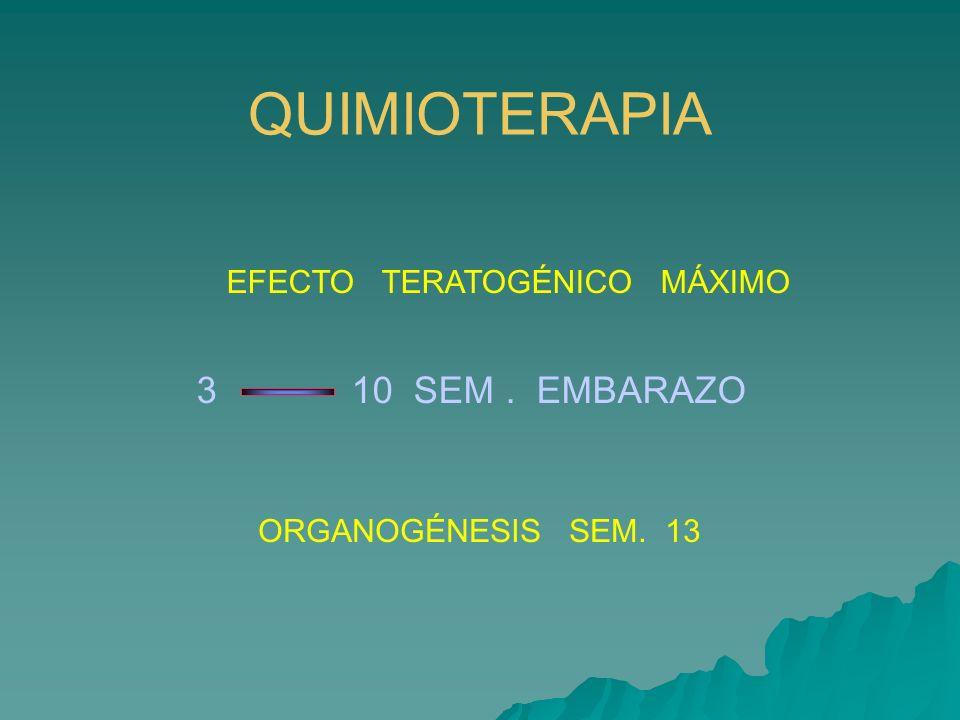 QUIMIOTERAPIA 3 10 SEM . EMBARAZO EFECTO TERATOGÉNICO MÁXIMO