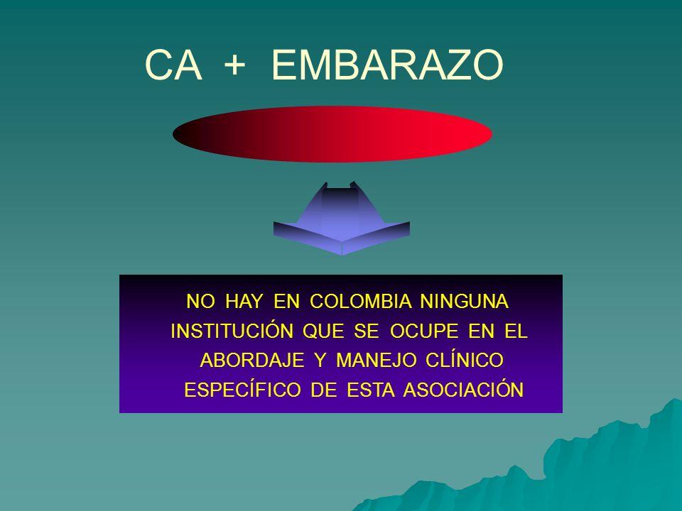 CA + EMBARAZO NO HAY EN COLOMBIA NINGUNA
