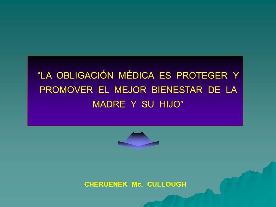 LA OBLIGACIÓN MÉDICA ES PROTEGER Y PROMOVER EL MEJOR BIENESTAR DE LA MADRE Y SU HIJO