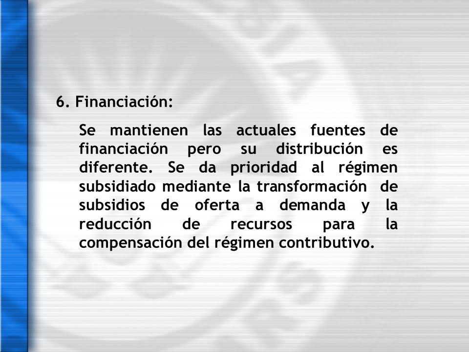 6. Financiación: