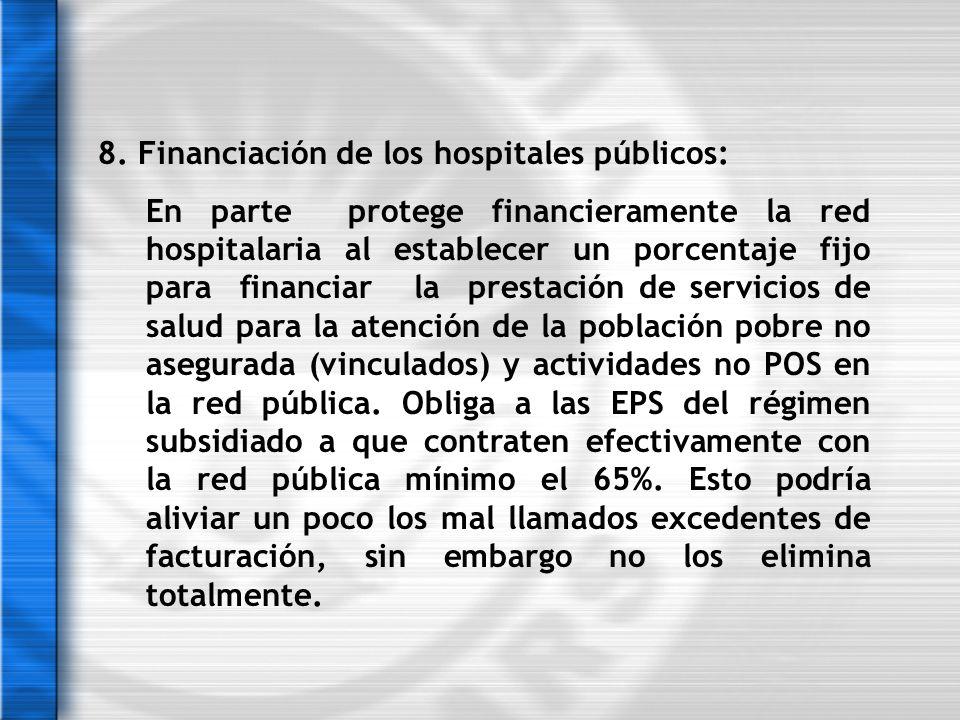 8. Financiación de los hospitales públicos: