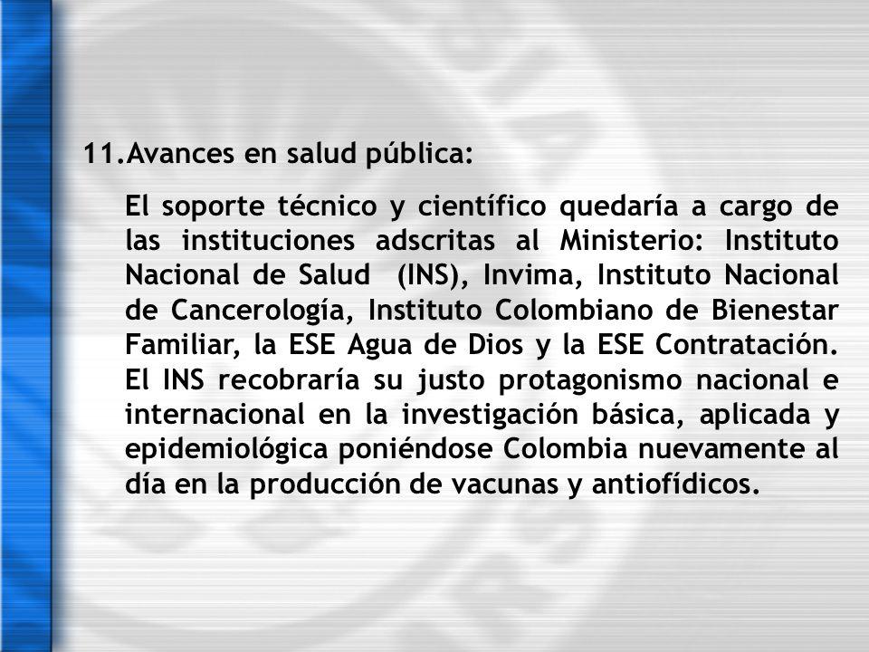 11.Avances en salud pública: