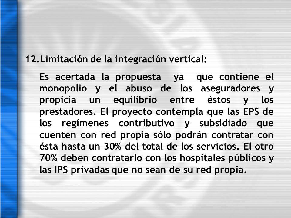 12.Limitación de la integración vertical: