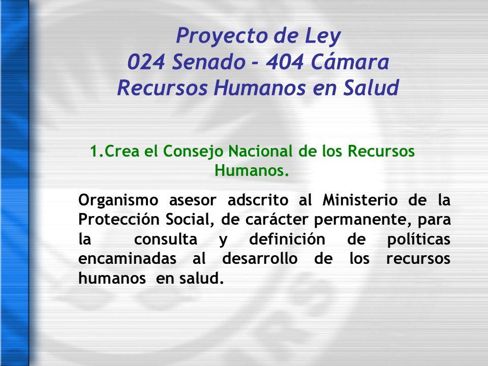Proyecto de Ley 024 Senado - 404 Cámara Recursos Humanos en Salud