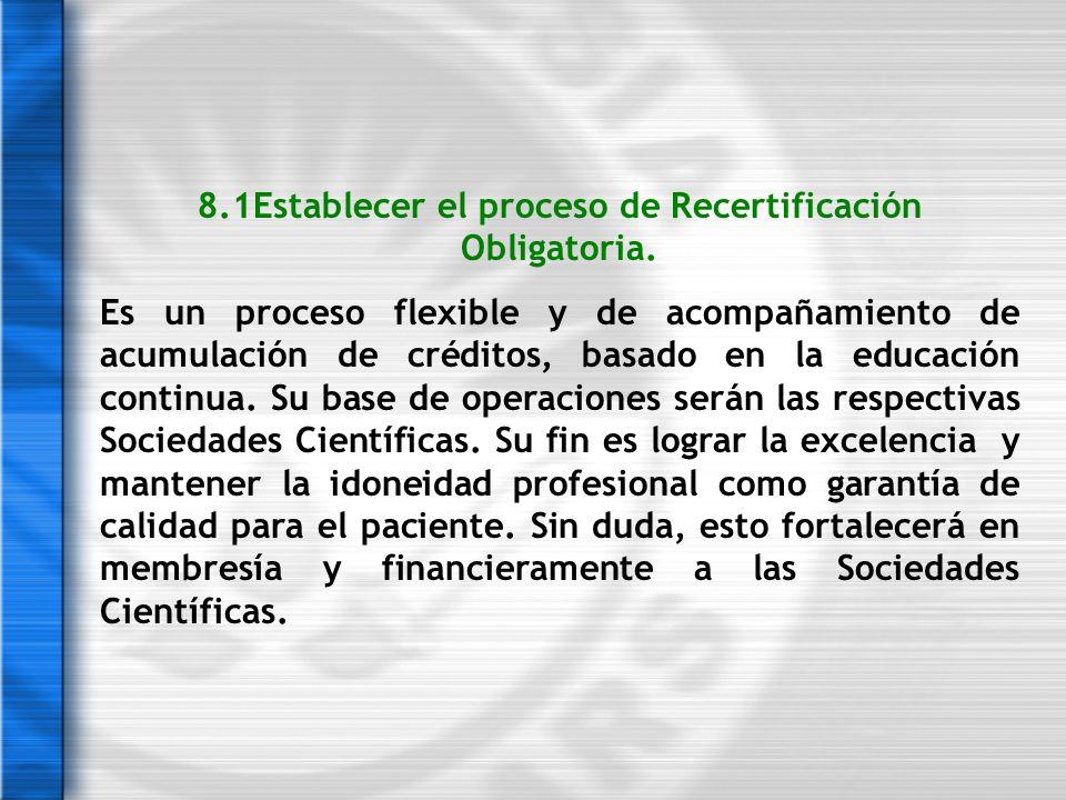 8.1Establecer el proceso de Recertificación Obligatoria.