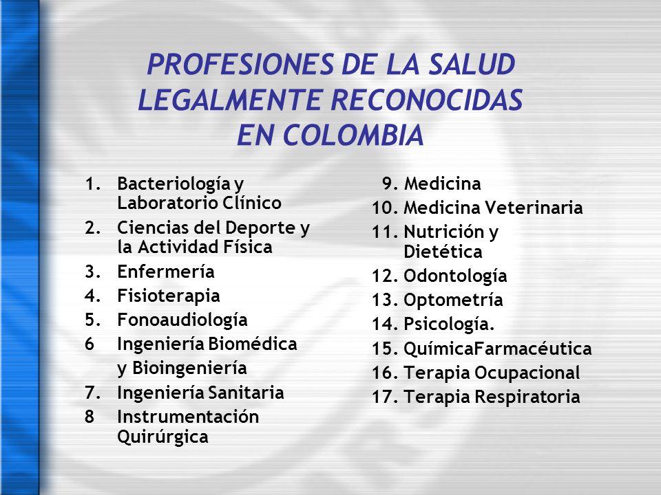 PROFESIONES DE LA SALUD LEGALMENTE RECONOCIDAS EN COLOMBIA