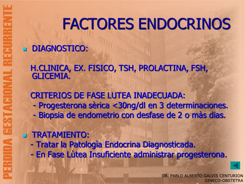 FACTORES ENDOCRINOS DIAGNOSTICO: