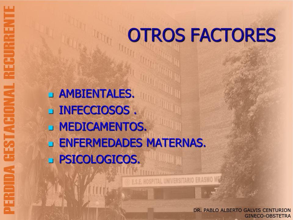 OTROS FACTORES AMBIENTALES. INFECCIOSOS . MEDICAMENTOS.