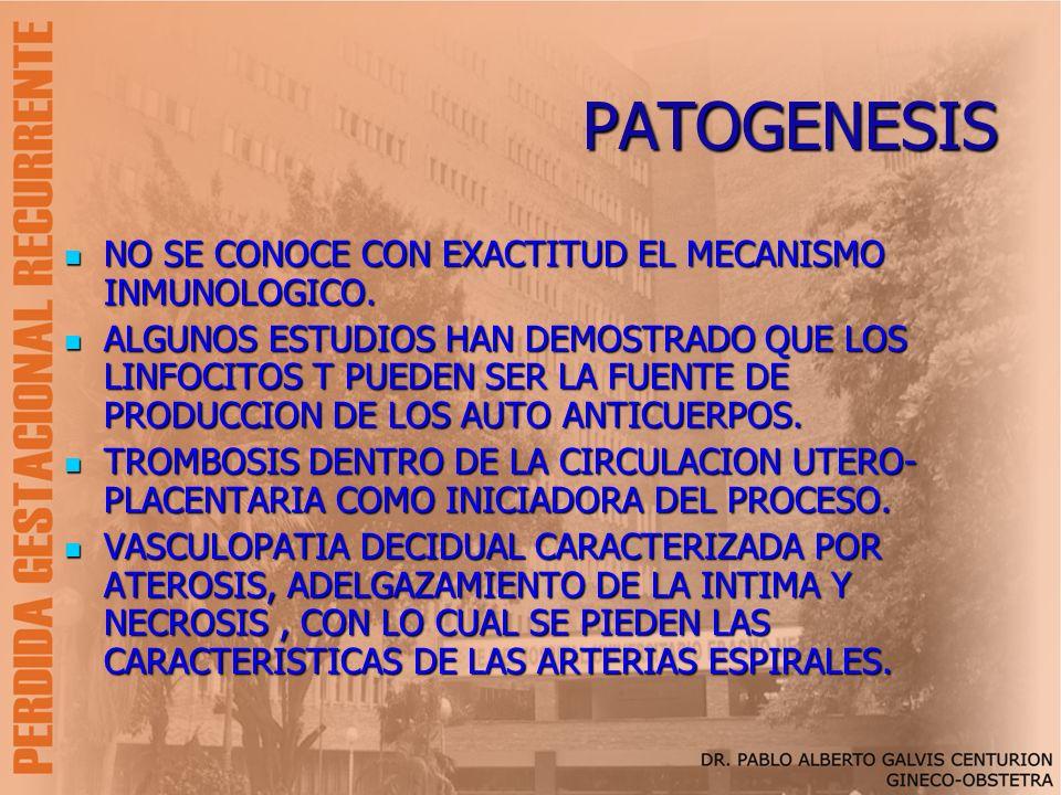 PATOGENESIS NO SE CONOCE CON EXACTITUD EL MECANISMO INMUNOLOGICO.