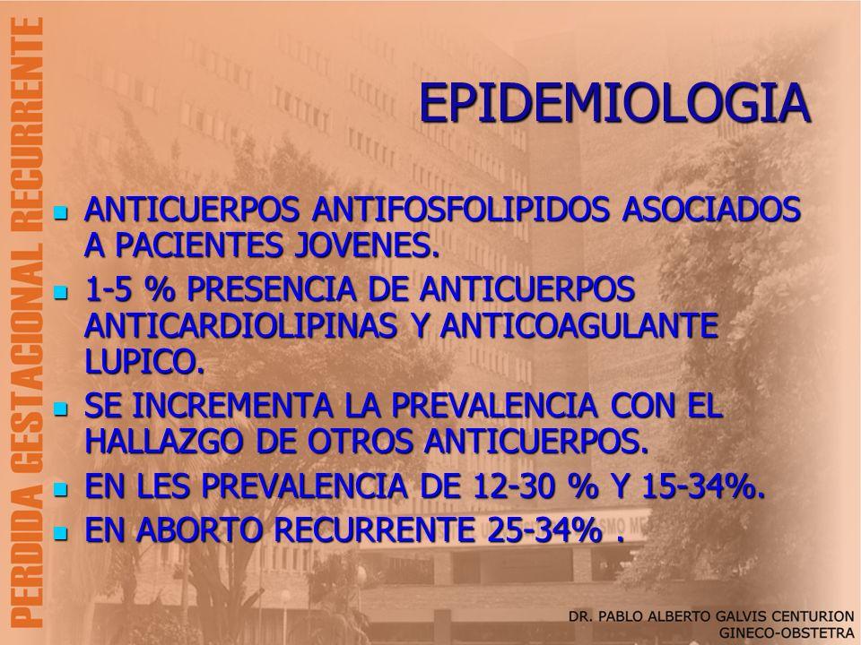 EPIDEMIOLOGIA ANTICUERPOS ANTIFOSFOLIPIDOS ASOCIADOS A PACIENTES JOVENES. 1-5 % PRESENCIA DE ANTICUERPOS ANTICARDIOLIPINAS Y ANTICOAGULANTE LUPICO.
