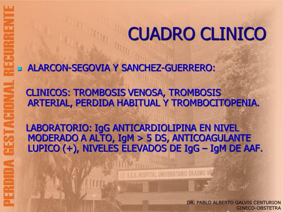 CUADRO CLINICO ALARCON-SEGOVIA Y SANCHEZ-GUERRERO: