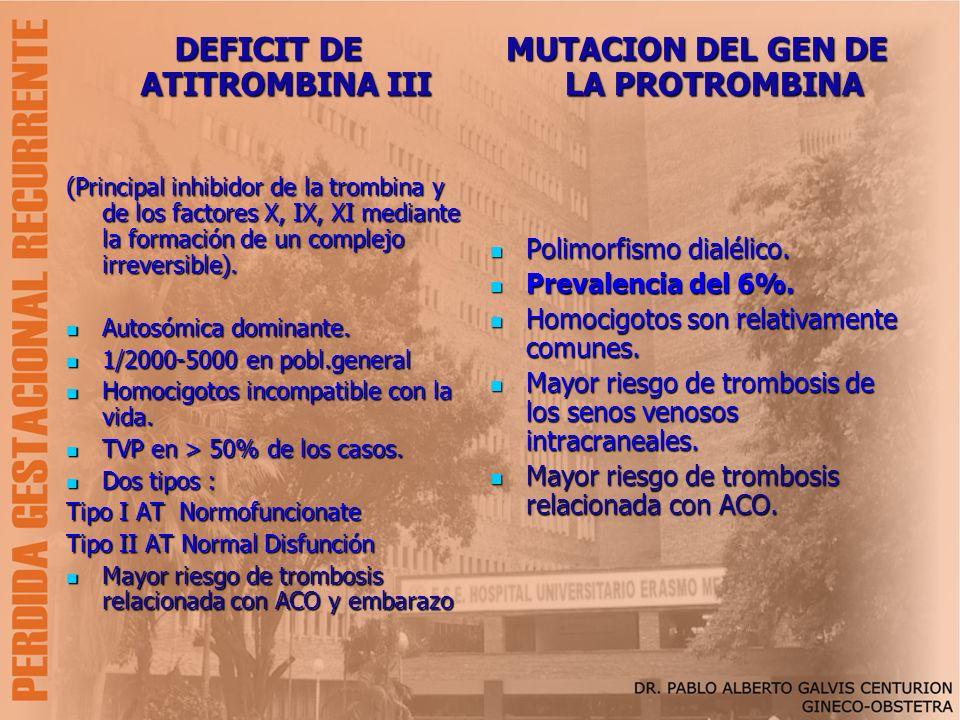 DEFICIT DE ATITROMBINA III MUTACION DEL GEN DE LA PROTROMBINA