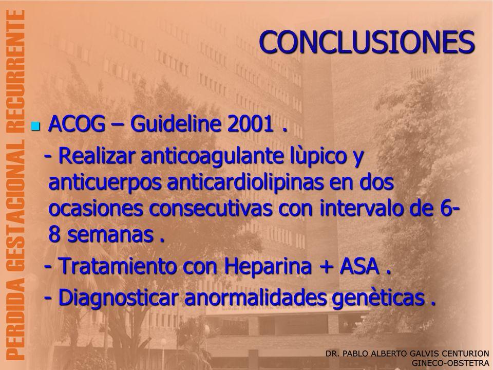 CONCLUSIONES ACOG – Guideline 2001 .
