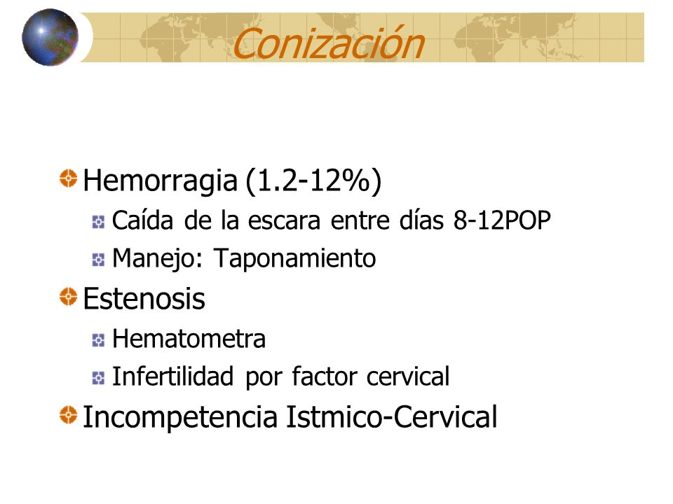 Conización Hemorragia (1.2-12%) Estenosis