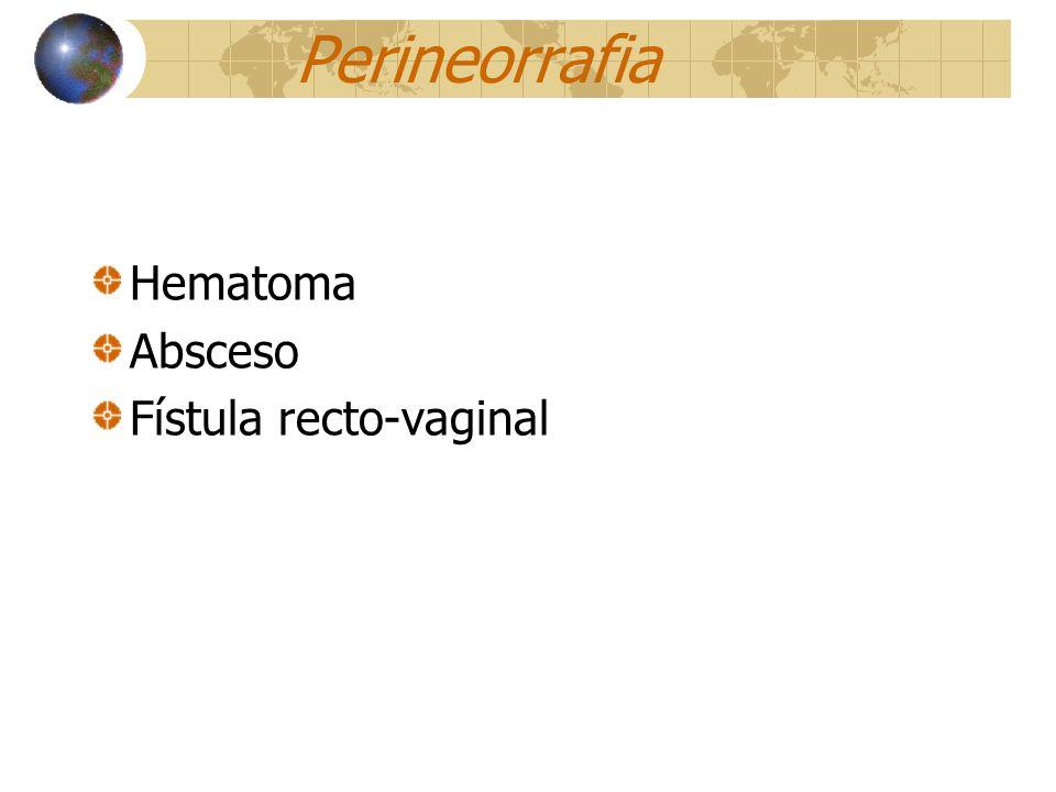 Perineorrafia Hematoma Absceso Fístula recto-vaginal