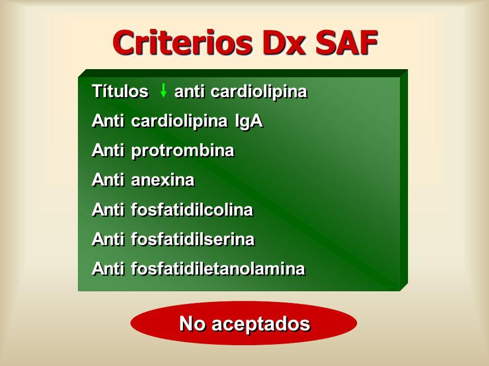 Criterios Dx SAF No aceptados Títulos anti cardiolipina