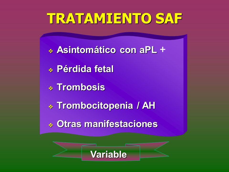 TRATAMIENTO SAF Asintomático con aPL + Pérdida fetal Trombosis