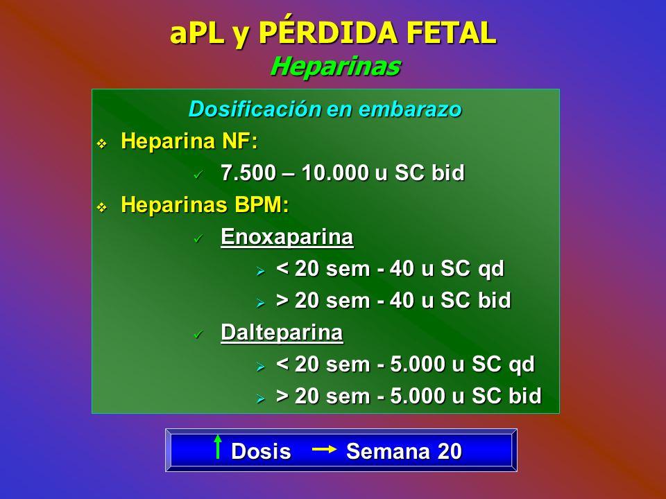 aPL y PÉRDIDA FETAL Heparinas
