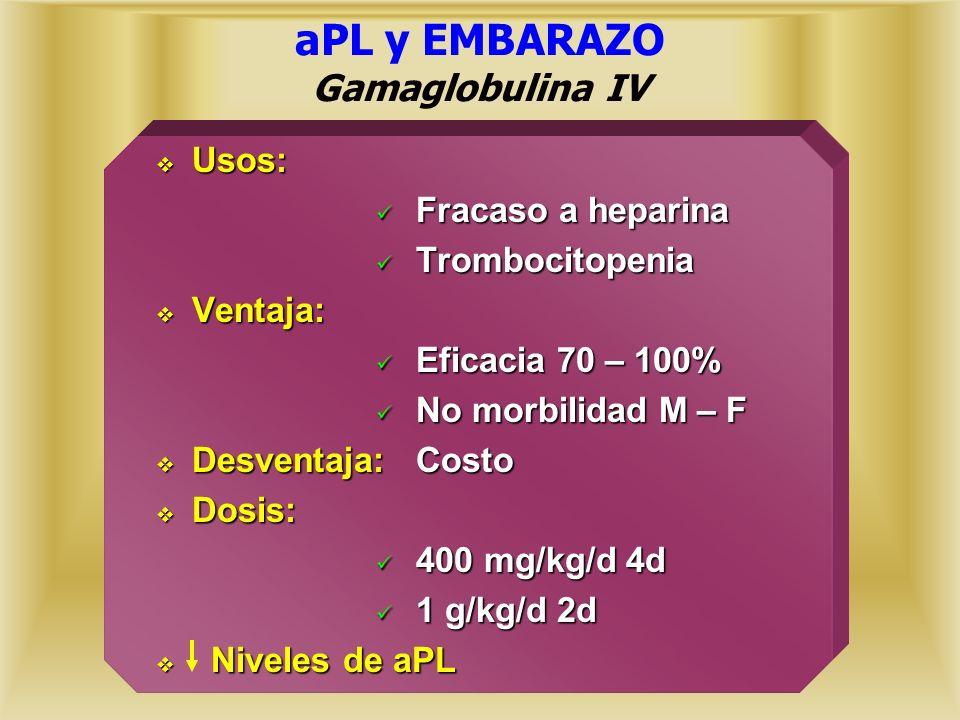 aPL y EMBARAZO Gamaglobulina IV