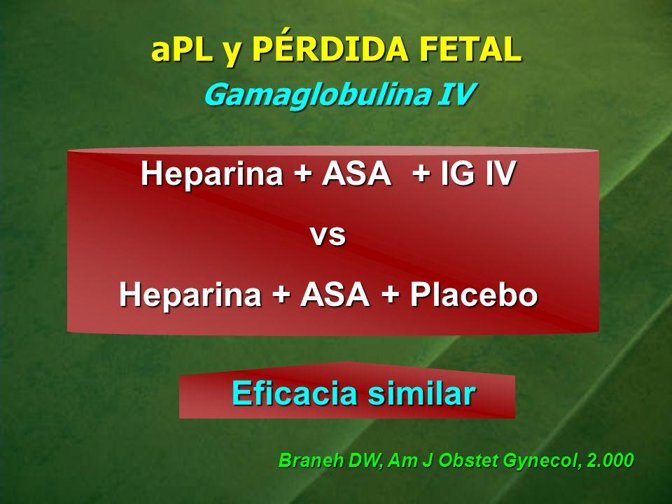aPL y PÉRDIDA FETAL Gamaglobulina IV