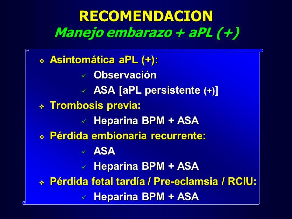 RECOMENDACION Manejo embarazo + aPL (+)