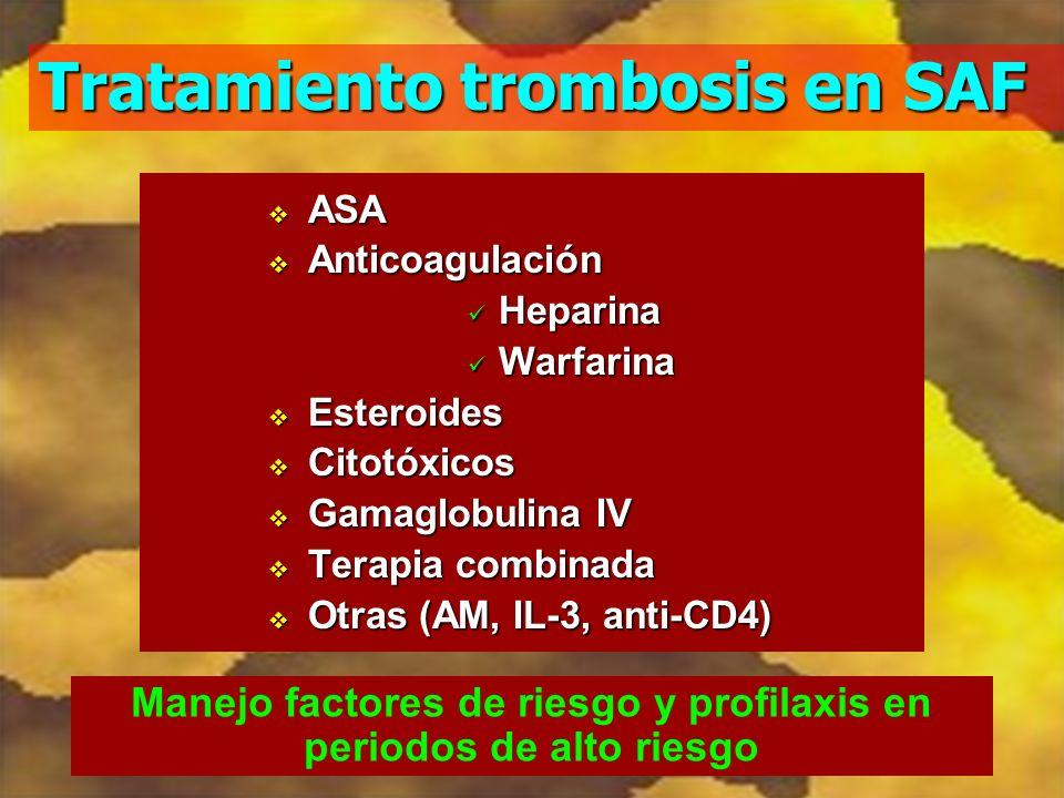 Tratamiento trombosis en SAF