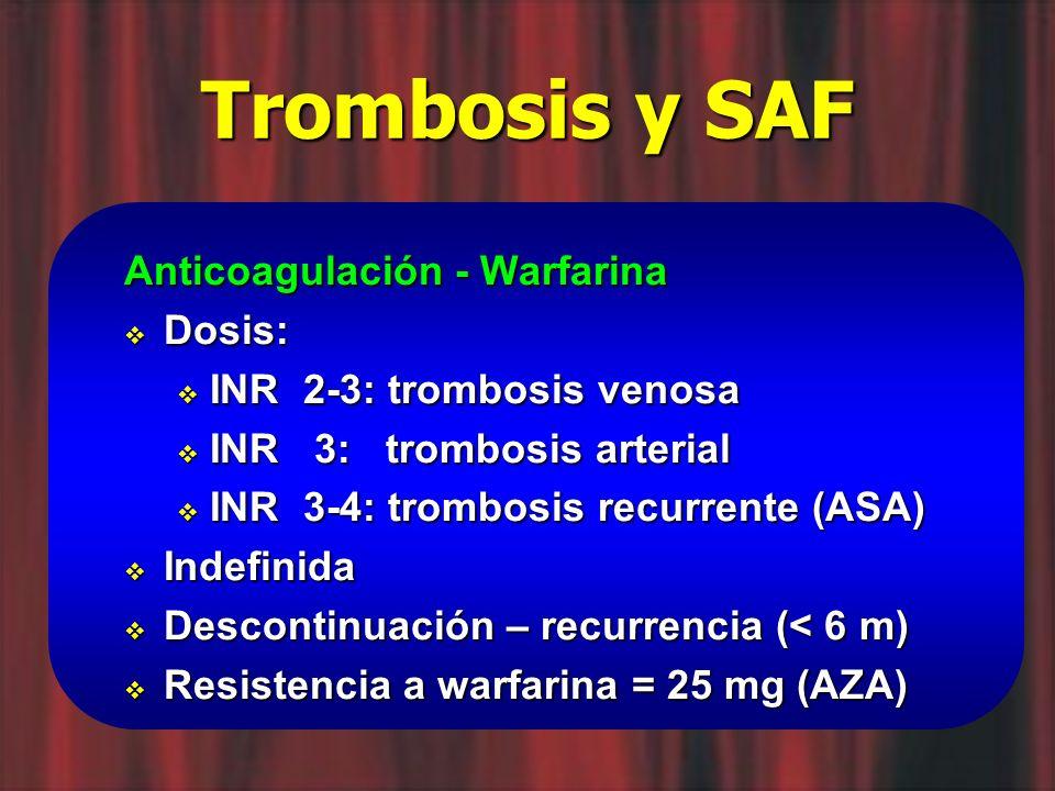 Trombosis y SAF Anticoagulación - Warfarina Dosis: