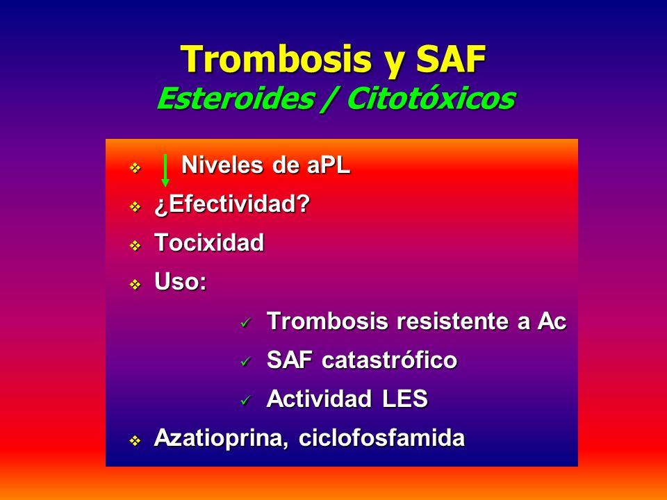 Trombosis y SAF Esteroides / Citotóxicos