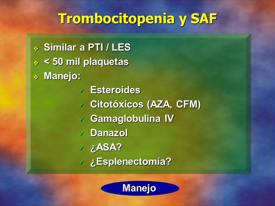 Trombocitopenia y SAF Similar a PTI / LES < 50 mil plaquetas