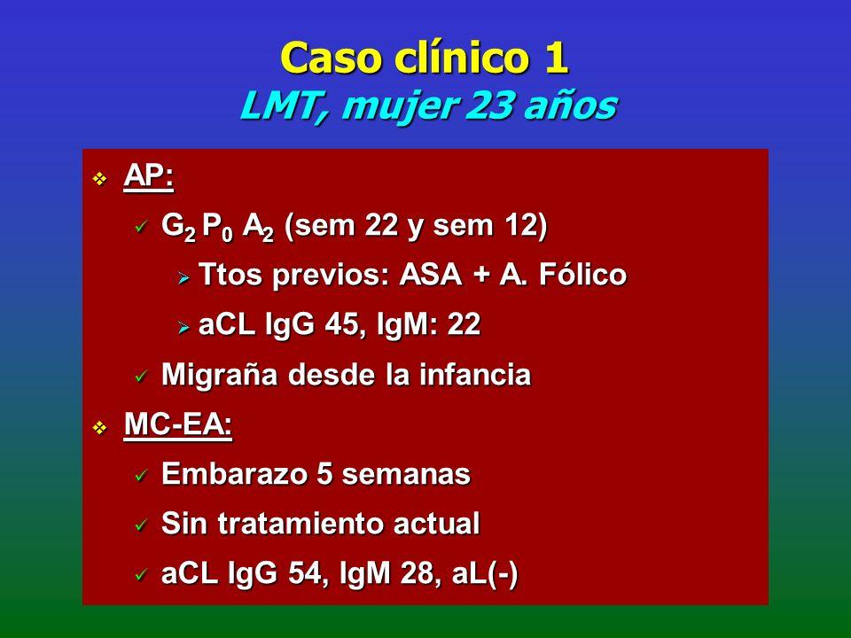Caso clínico 1 LMT, mujer 23 años