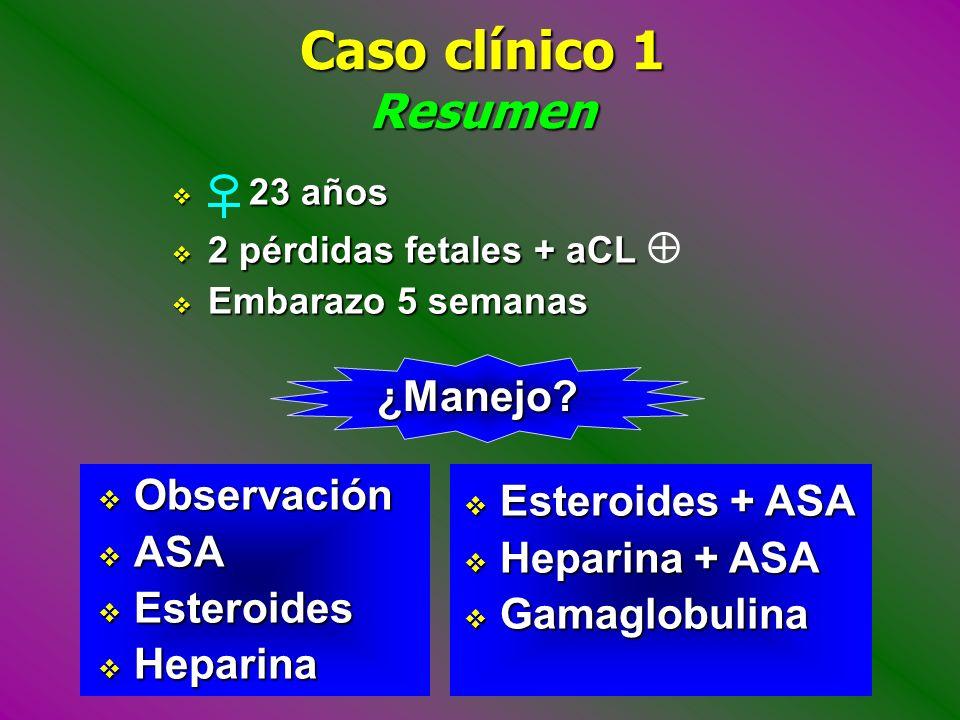Caso clínico 1 Resumen ¿Manejo Observación Esteroides + ASA ASA
