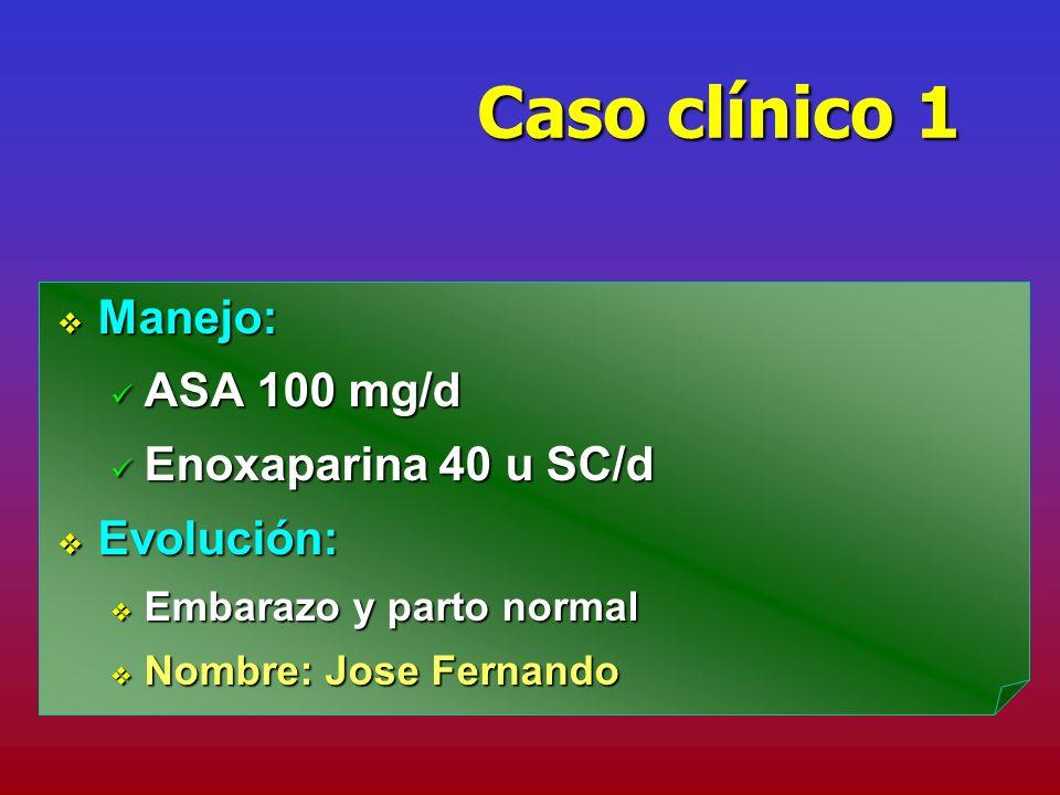 Caso clínico 1 Manejo: ASA 100 mg/d Enoxaparina 40 u SC/d Evolución: