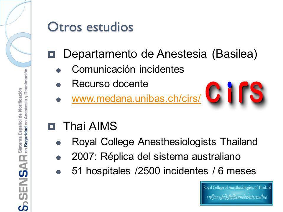 Otros estudios Departamento de Anestesia (Basilea) Thai AIMS