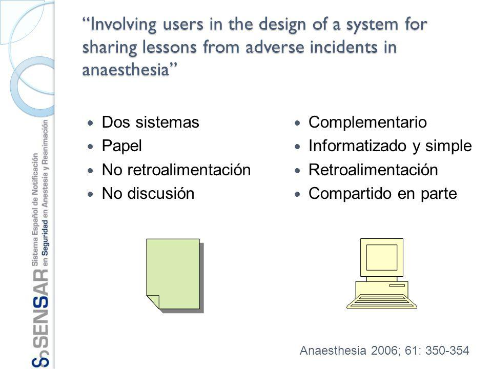 Involving users in the design of a system for sharing lessons from adverse incidents in anaesthesia