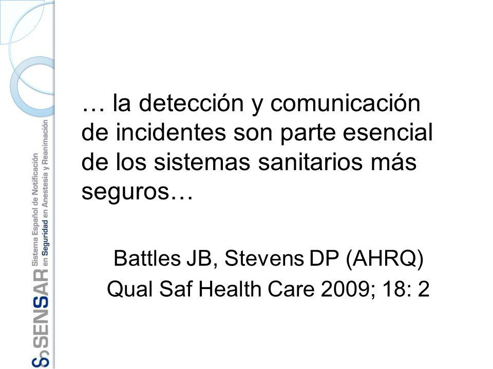 Battles JB, Stevens DP (AHRQ) Qual Saf Health Care 2009; 18: 2