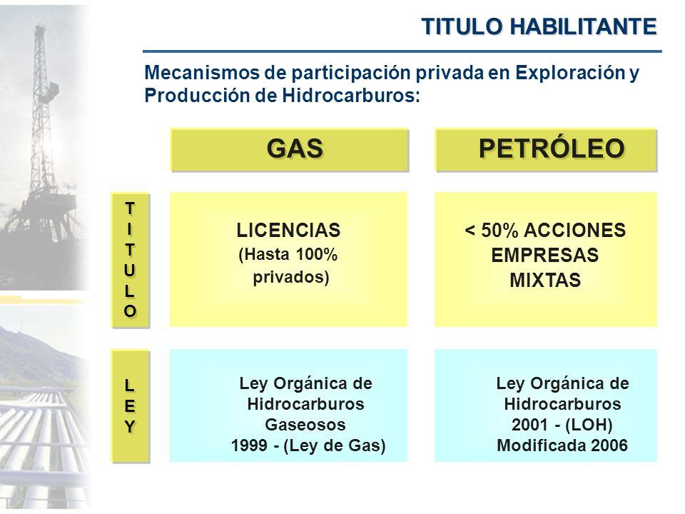 GAS PETRÓLEO TITULO HABILITANTE