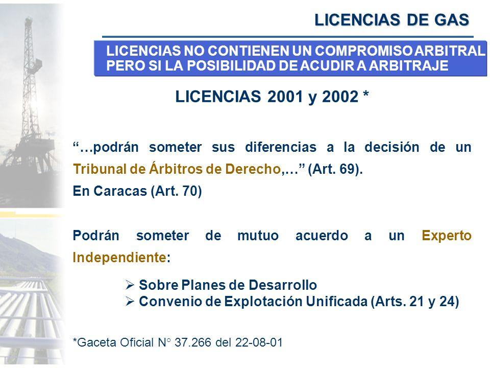 LICENCIAS DE GAS LICENCIAS 2001 y 2002 *