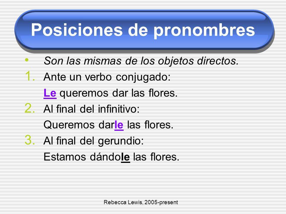 Posiciones de pronombres