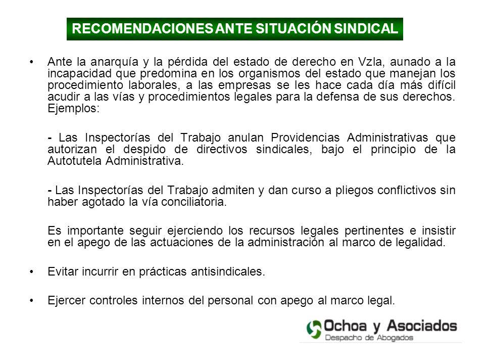 RECOMENDACIONES ANTE SITUACIÓN SINDICAL