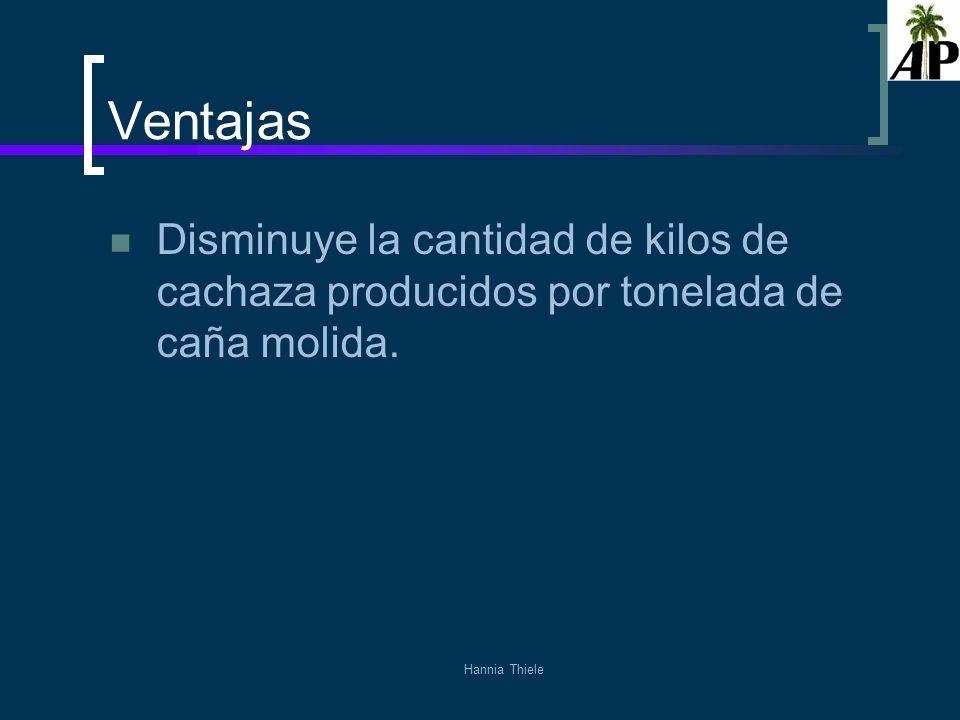 Ventajas Disminuye la cantidad de kilos de cachaza producidos por tonelada de caña molida.