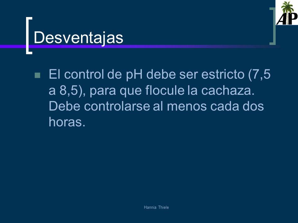 Desventajas El control de pH debe ser estricto (7,5 a 8,5), para que flocule la cachaza. Debe controlarse al menos cada dos horas.