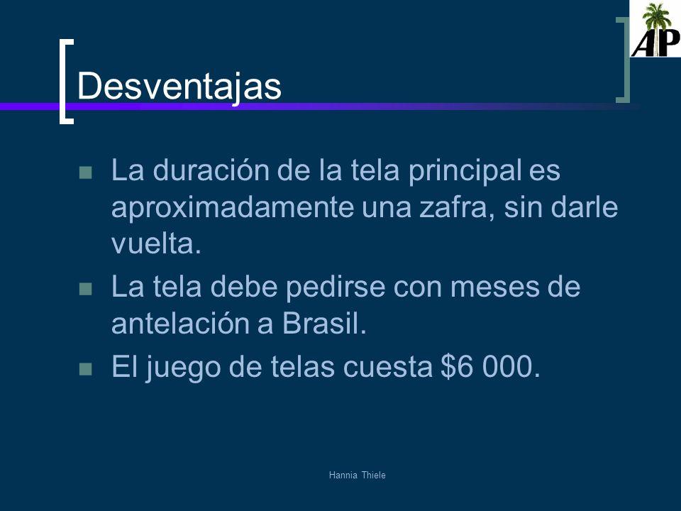 Desventajas La duración de la tela principal es aproximadamente una zafra, sin darle vuelta. La tela debe pedirse con meses de antelación a Brasil.