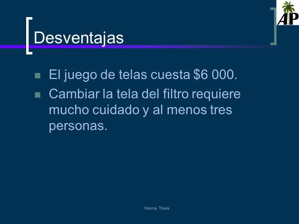 Desventajas El juego de telas cuesta $6 000.
