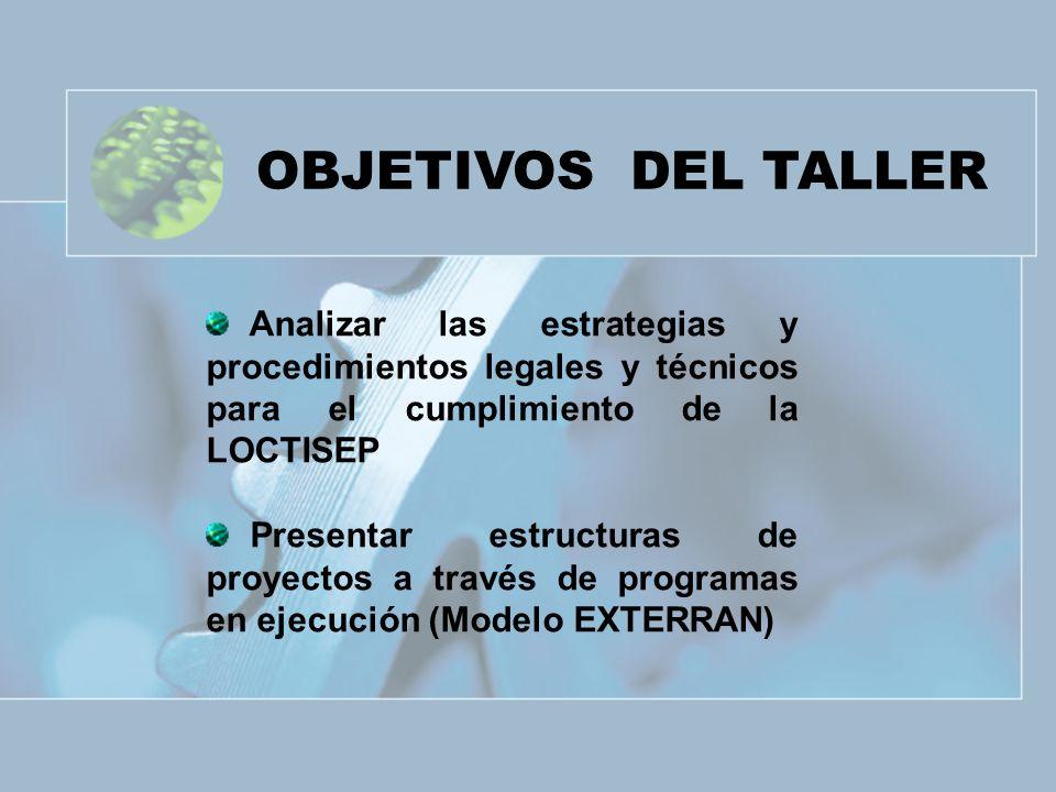 OBJETIVOS DEL TALLER Analizar las estrategias y procedimientos legales y técnicos para el cumplimiento de la LOCTISEP.
