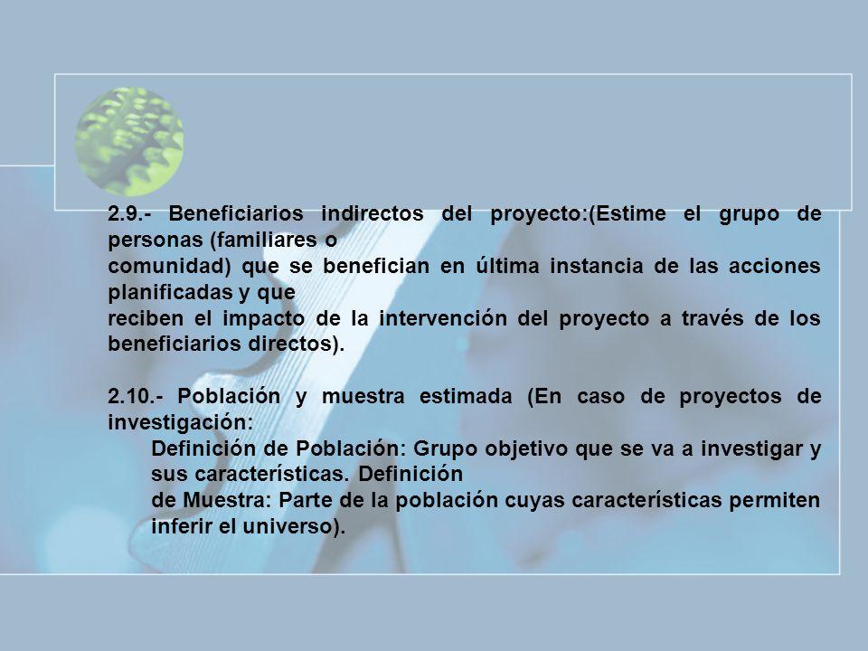 2.9.- Beneficiarios indirectos del proyecto:(Estime el grupo de personas (familiares o