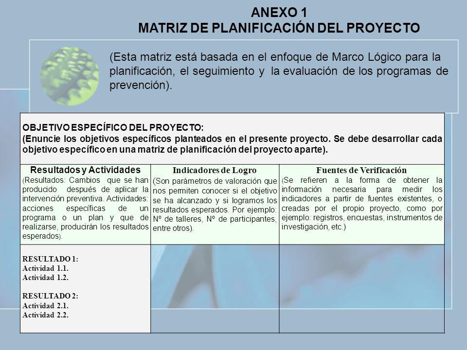 ANEXO 1 MATRIZ DE PLANIFICACIÓN DEL PROYECTO