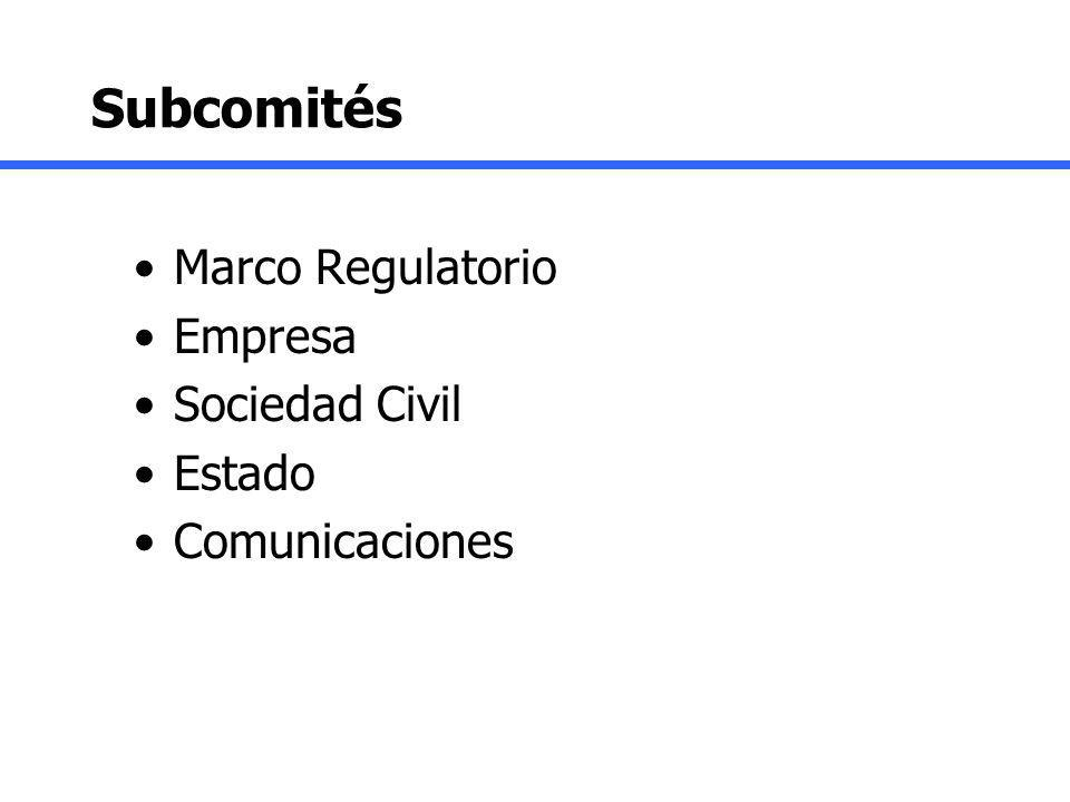 Subcomités Marco Regulatorio Empresa Sociedad Civil Estado