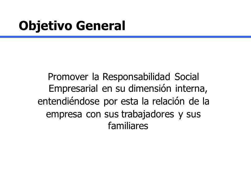 Objetivo General Promover la Responsabilidad Social Empresarial en su dimensión interna, entendiéndose por esta la relación de la.