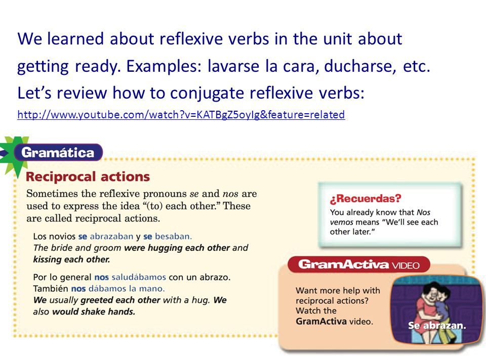 We learned about reflexive verbs in the unit about