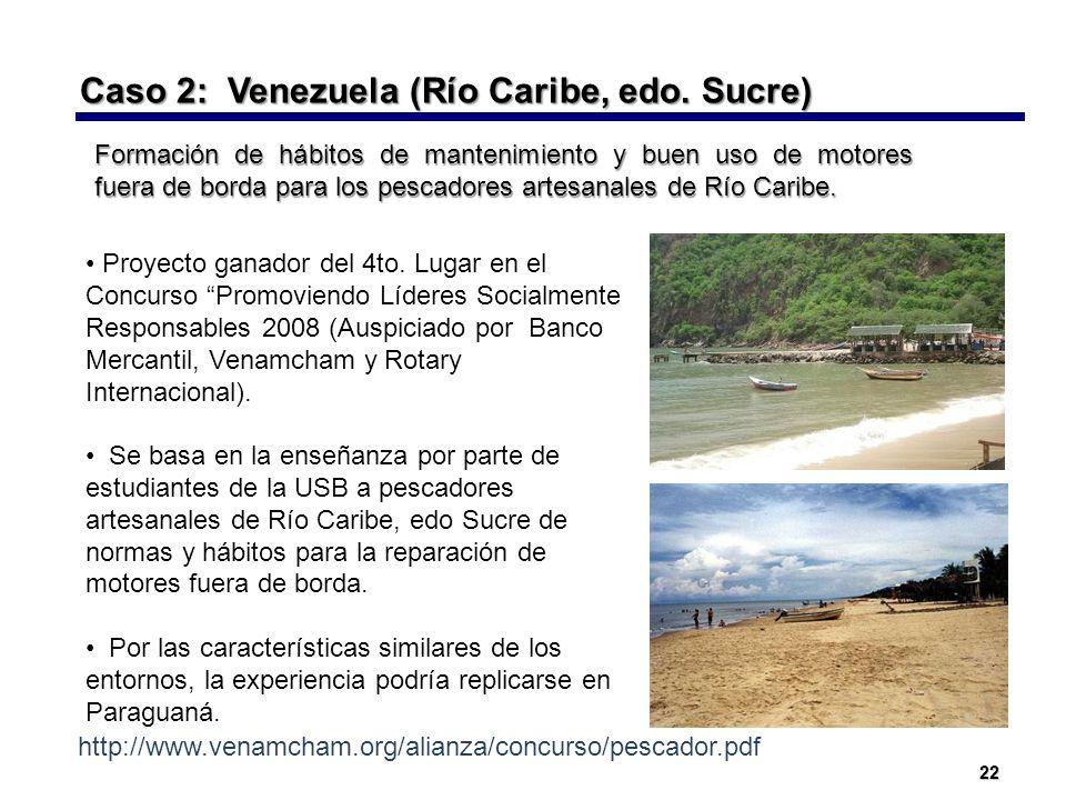 Caso 2: Venezuela (Río Caribe, edo. Sucre)